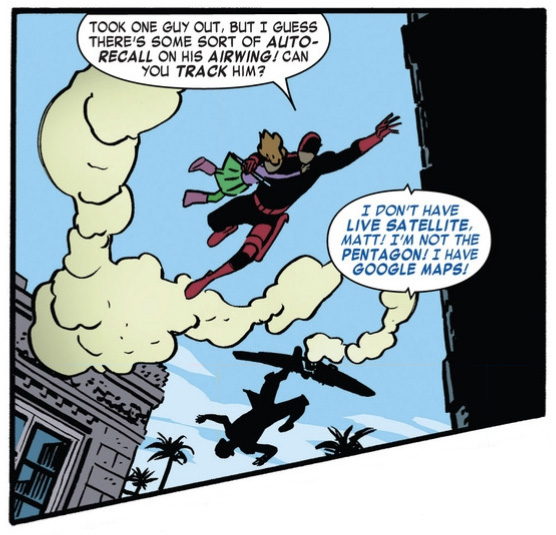 Kirsten jokes about Google Maps, as seen in Daredevil #1 (vol 4), by Mark Waid and Chris Samnee