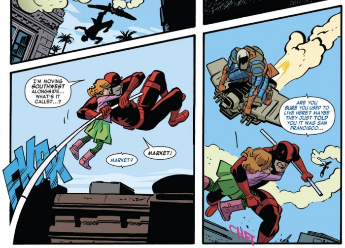 Kirsten jokes with Matt, from Daredevil #1 (vol 4), by Mark Waid and Chris Samnee