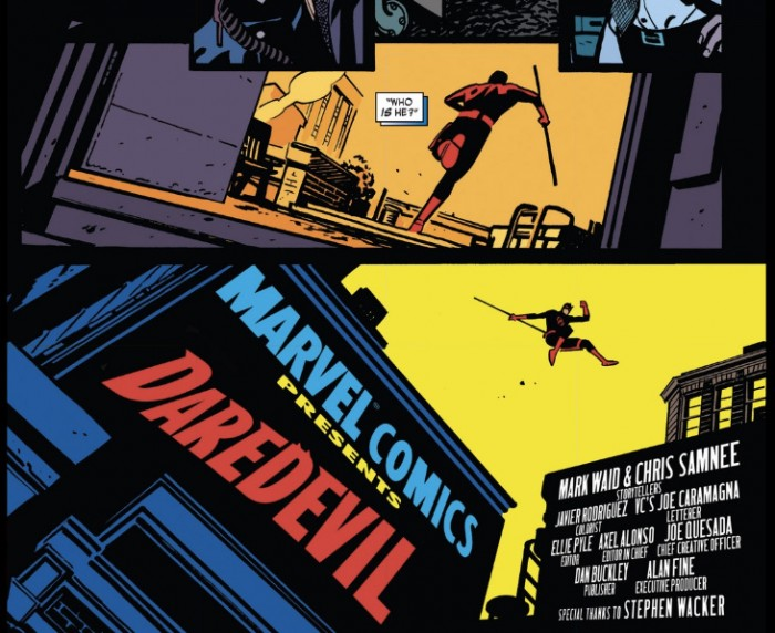 Opening titles, as seen in Daredevil #1 (vol 4), by Mark Waid and Chris Samnee