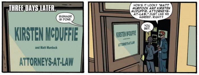 The sign to Matt and Kirsten's new office door, from Darevil #1 (vol 4), by Mark Waid and Chris Samnee