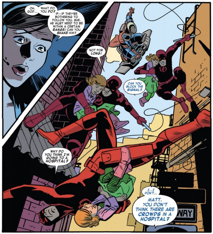 Daredevil in action, from Daredevil #1 (vol 4) by Mark Waid and Chris Samnee