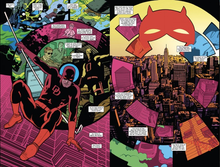 Fantastic two-page spread from Daredevil #1 (vol 4), by Mark Waid and Chris Samnee