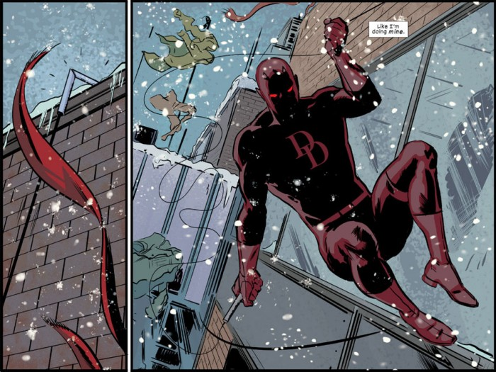 Daredevil changes in mid-air, from Daredevil: Road Warrior #2 by Mark Waid and Peter Krause