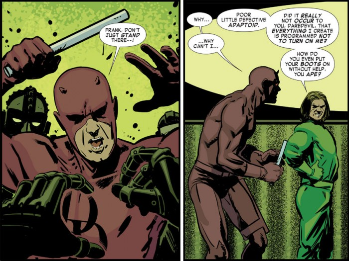 Daredevil fighting the Mad Thinker in Daredevil: Road Warrior #4 by Mark Waid and Peter Krause