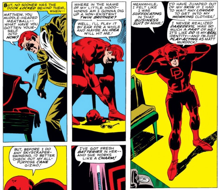 Matt changing into his Daredevil costume while complaining about life, from Daredevil #25 by Stan Lee and Gene Colan