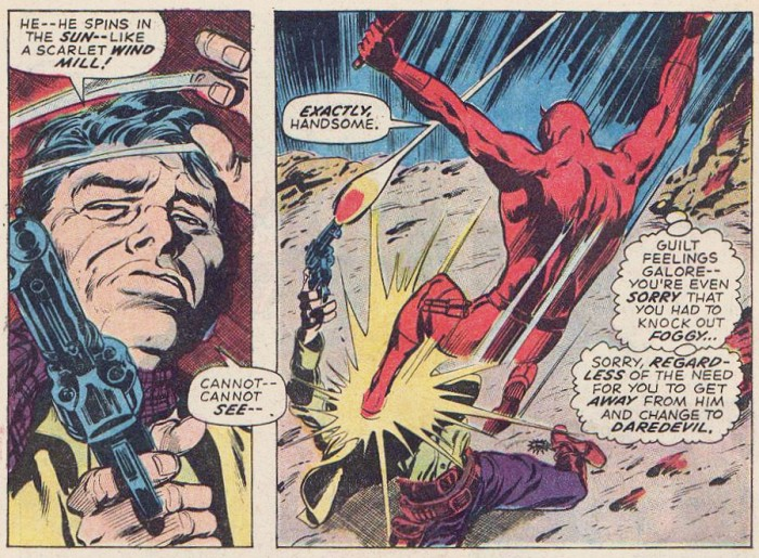 Daredevil berates himself for feeling guilty about hitting Foggy, from Daredevil #76 by Gerry Conway and Gene Colan