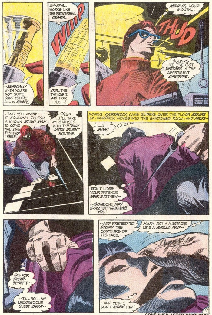 Matt finds a man in his home, from Daredevil #82, by Gerry Conway and Gene Colan