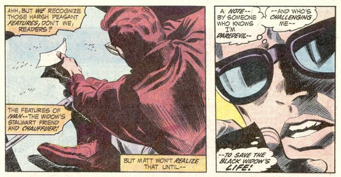 Matt finds a note about the Black Widow being kidnapped, from Daredevil #82, by Gerry Conway and Gene Colan