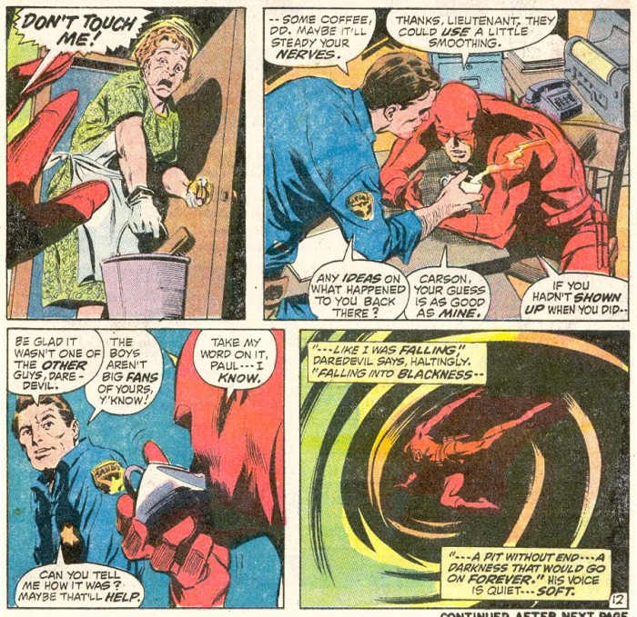 Daredevil having coffee with his cop friend Paul, from Daredevil #90 by Gerry Conway and Gene Colan