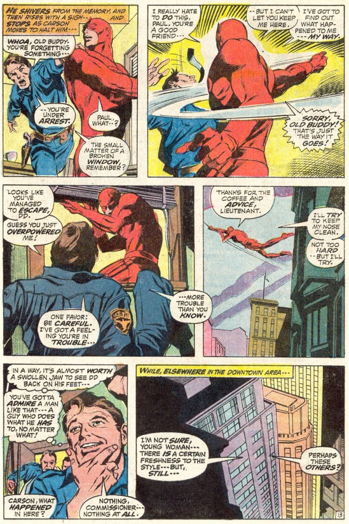 Daredevil hits his cop friend Paul, as seen in Daredevil #90 by Gerry Conway and Gene Colan