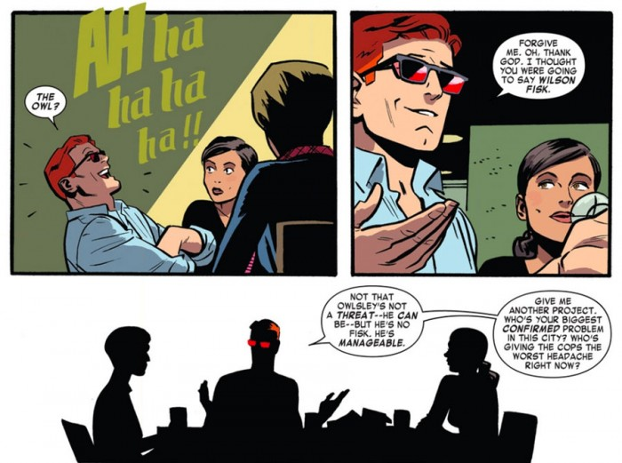 Matt laughs at the Owl, in Daredevil #2 by Mark Waid and Chris Samnee