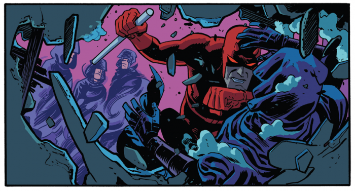 Daredevil attacks the Shroud, as seen in Daredevil #3 by Mark Waid and Chris Samnee