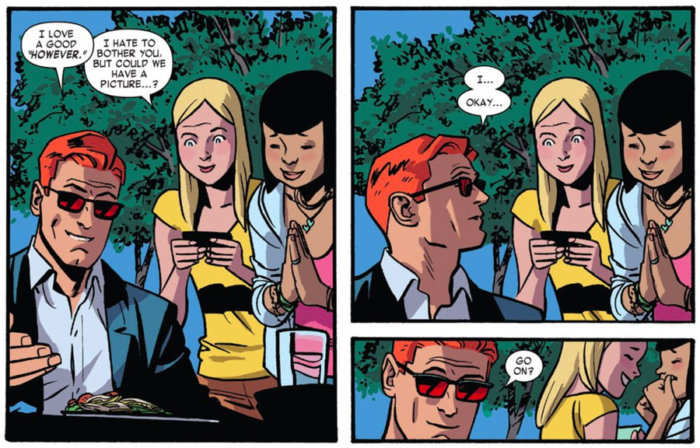 Matt meets some fans, as seen in Daredevil #4 by Mark Waid and Chris Samnee