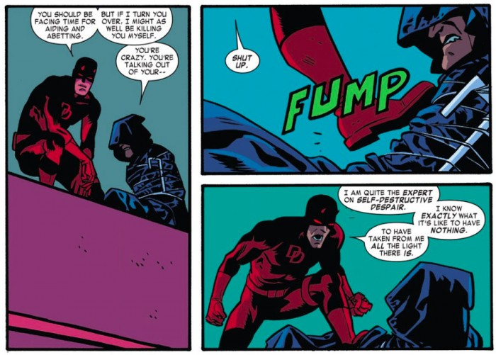 Daredevil taunt the Shroud, as seen in Daredevil #4 by Mark Waid and Chris Samnee