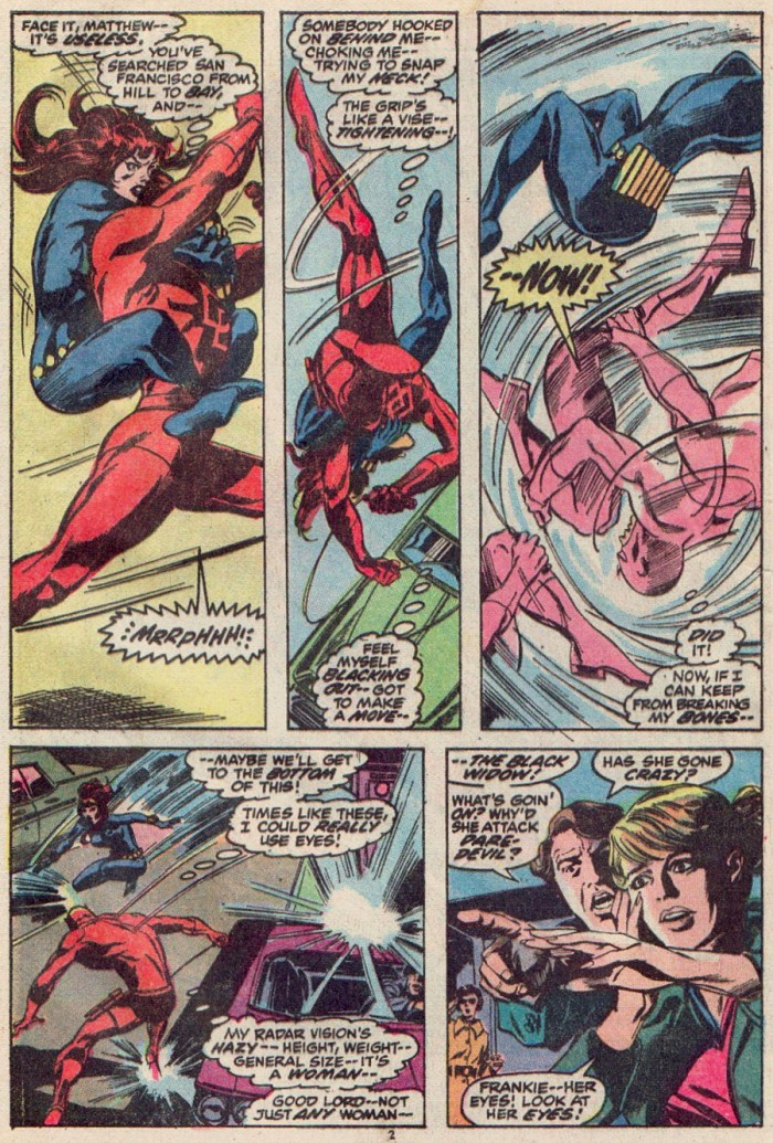 Daredevil is attacked by the Black Widow, as seen in Daredevil #93 by Gerry Conway and Gene Colan