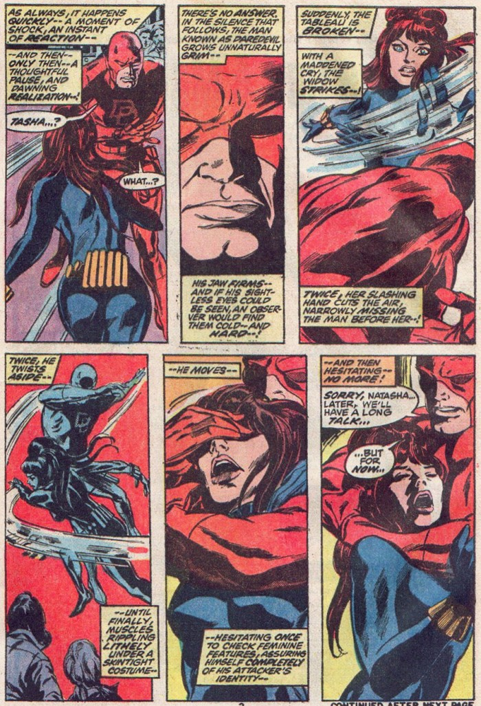 Daredevil feels the Black Widow's face, as seen in Daredevil #93 by Gerry Conway and Gene Colan