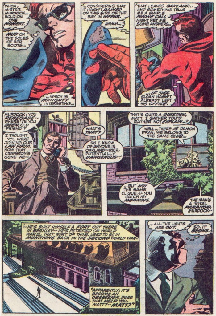 Daredevil does some quick detective work, as seen in Daredevil #93 by Gerry Conway and Gene Colan
