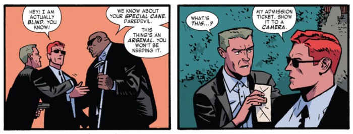 Matt complains about having his cane taken from him at the Owl's mansion, as seen in Daredevil #3