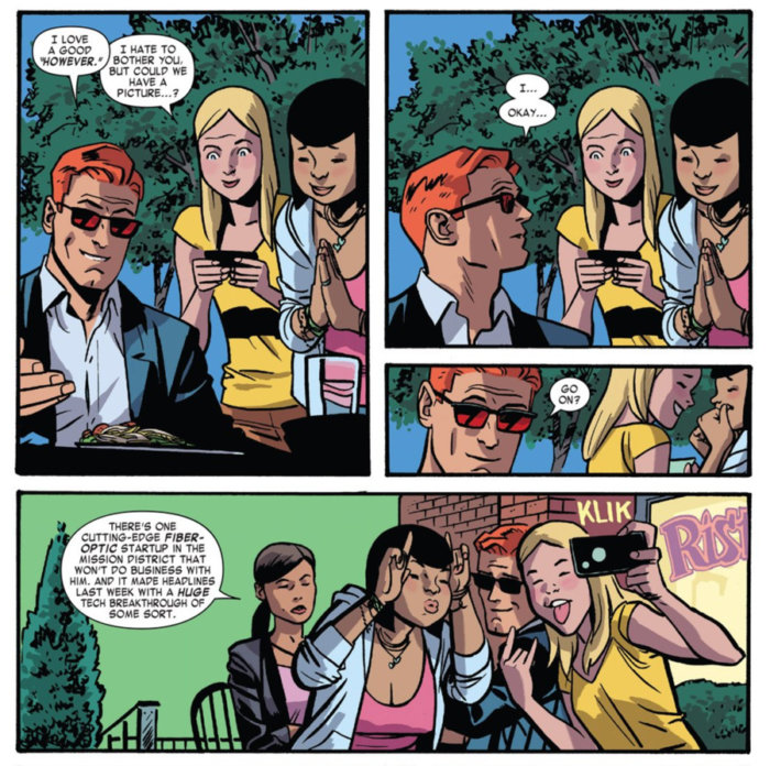 Matt poses for a wefie, in Daredevil #4 by Mark Waid and Chris Samnee