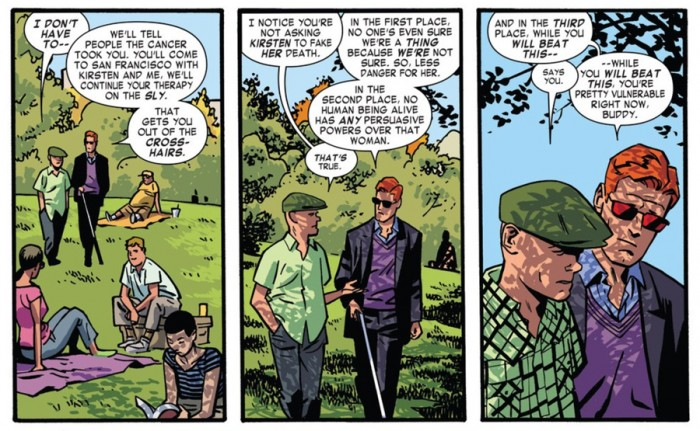 Matt and Foggy in the park, as seen in Daredevil #5 by Mark Waid and Chris Samnee