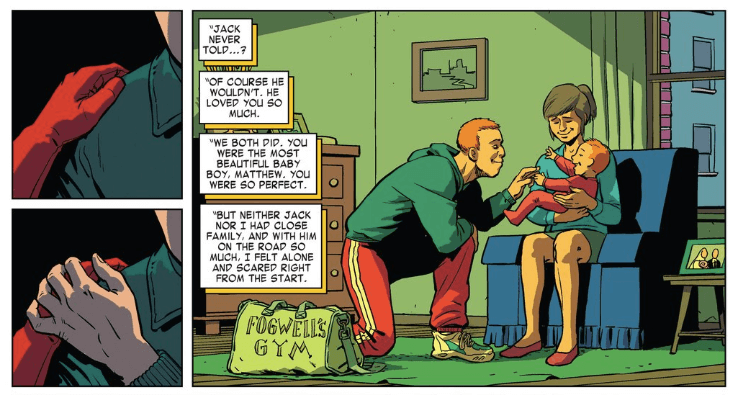 "Jack and Grace ""Maggie"" Murdock, as seen in Daredevil #7 (vol 4) by Mark Waid and Javier Rodríguez"