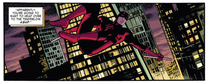 Matt finally hits the streets. From Daredevil #8 by Mark Waid and Chris Samnee