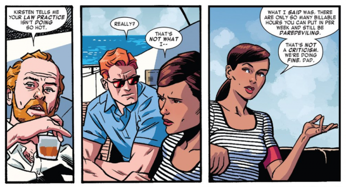 Matt and Kirsten with her father at sea. From Daredevil #8 by Mark Waid and Chris Samnee