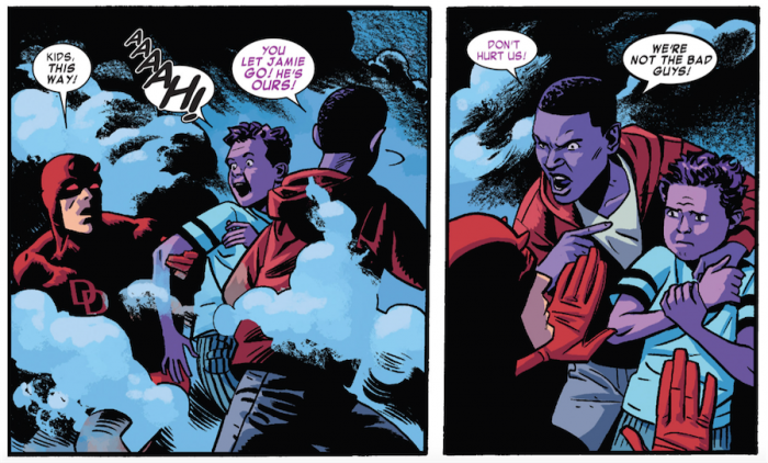 Matt faces the Purple Children, from Daredevil #9 by Mark Waid and Chris Samnee