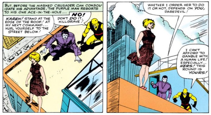Killgrave instructing Karen to jump, as seen in Daredevil #4 (vol 1), by Stan Lee and Joe Orlando