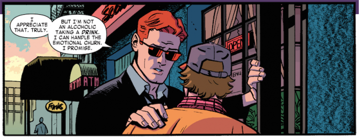Matt reassures Foggy that he's fine, as seen in Daredevil #9 by Mark Waid and Chris Samnee