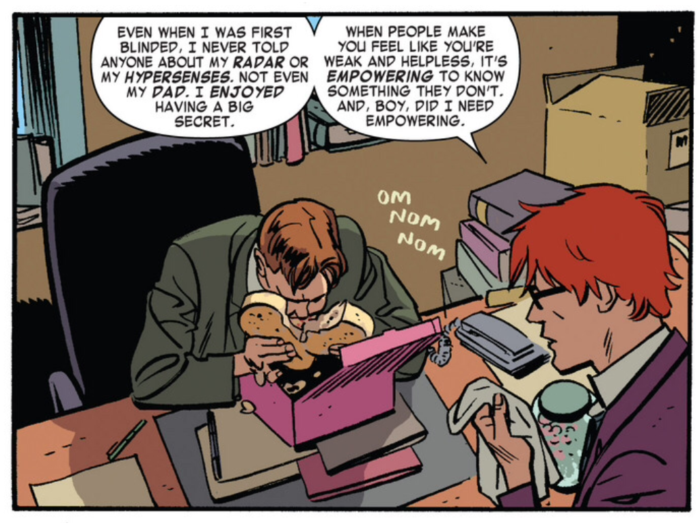 Panels from Daredevil #22, volume 3, by Mark Waid and Chris Samnee