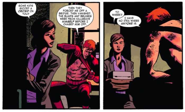 Matt, bruised, returns to Kirsten. From Daredevil #10 by Mark Waid and Chris Samnee