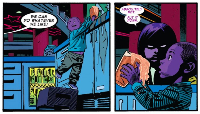 The purple children in an arcade, as seen in Daredevil #10 by Mark Waid and Chris Samnee