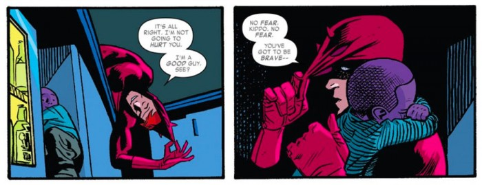 Matt rescues a purple boy, from Daredevil #10 by Mark Waid and Chris Samnee