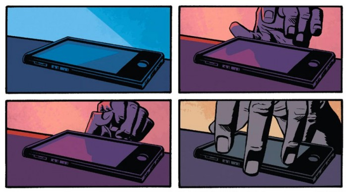 Matt's hand hesitates, then reaches for his phone, as seen in Daredevil #10 by Mark Waid and Chris Samnee