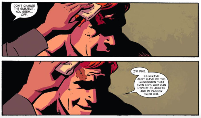 Matt is cared for by Kirsten, and looks away. From Daredevil #10 by Mark Waid and Chris Samnee