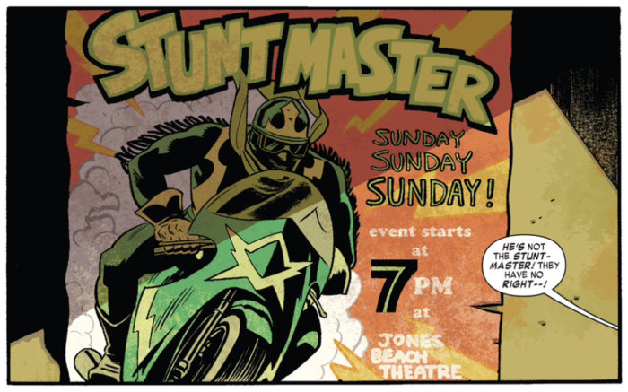 An old poster on the wall shows the Stunt-Master, as seen in Daredevil #11, by Mark Waid and Chris Samnee