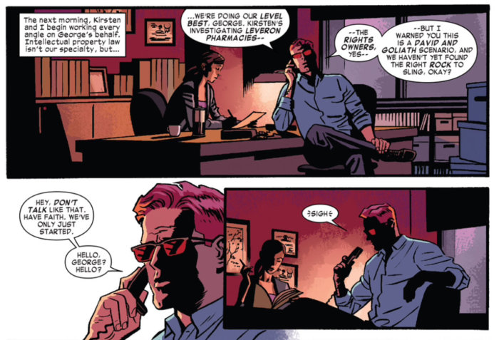 Matt talking to the old Stunt-Master on the phone in his law office, from Daredevil #11 by Mark Waid and Chris Samnee