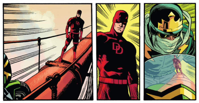 Daredevil stops the advancing new Stunt-Master on the Golden Gate bridge, as seen in Daredevil #11, by Mark Waid and Chris Samnee