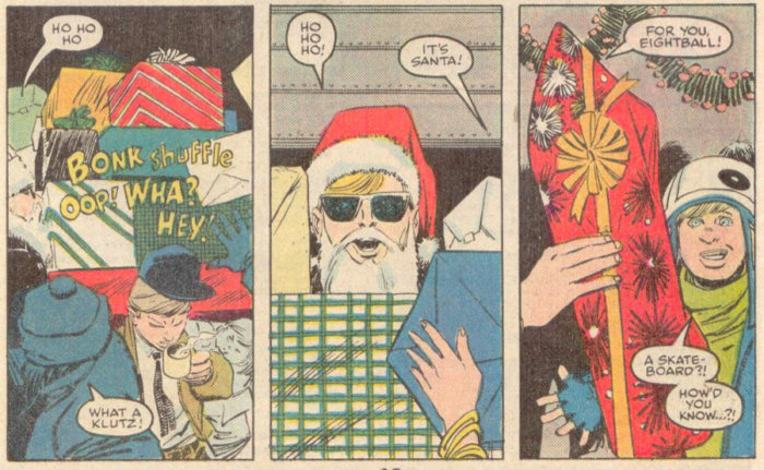 Matt delivers Christmas presents in Daredevil #253 by Ann Nocenti and John Romita Jr