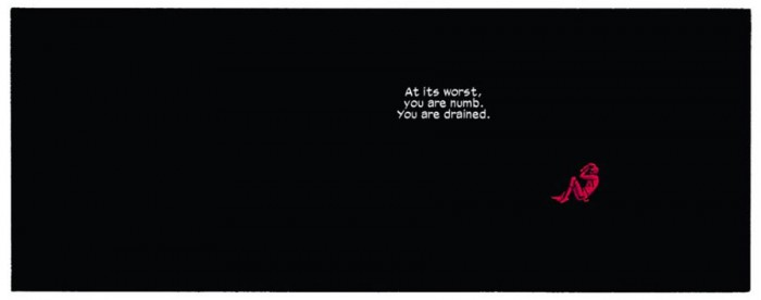 Daredevil depicted as a small red speck against an all black background, as seen in Daredevil #10, by Mark Waid and Chris Samnee