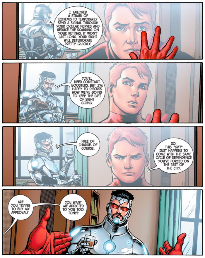 Matt sees his reflection, as seen in Superior Iron Man #3, by Tom Taylor and Yıldıray Çınar