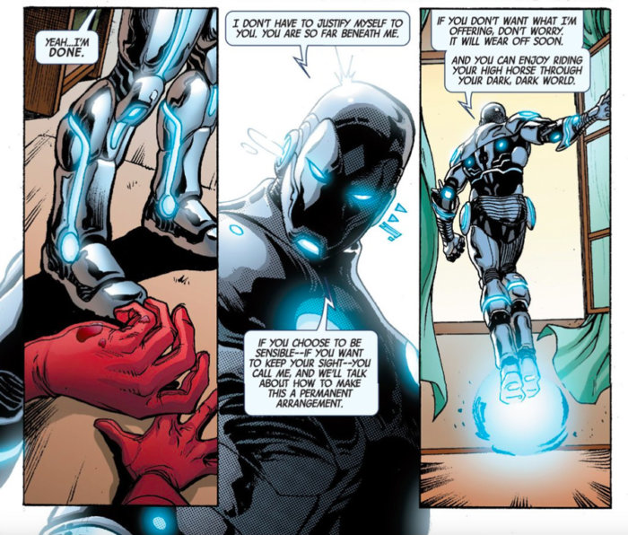 Tony Stark mocking Matt in Superior Iron Man #3, by Tom Taylor and Yıldıray Çınar