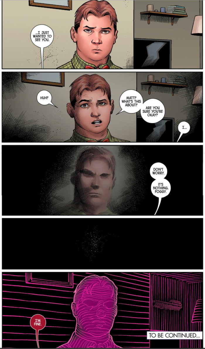 Matt goes to see Foggy before his sight goes away, as seen in Superior Iron Man #3, by Tom Taylor and Yıldıray Çınar