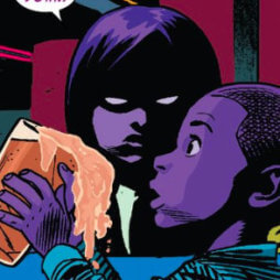 One of the purple children catches her brother sneaking a soda, from Daredevil #10 by Mark Waid and Chris Samnee