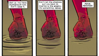 Three panels of Daredevil's fist planted firmly against the ground, as seen in Daredevil #10 by Mark Waid and Chris Samnee