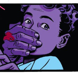 Purple Man grasps one of his children from behind, as seen in Daredevil #10 by Mark Waid and Chris Samnee