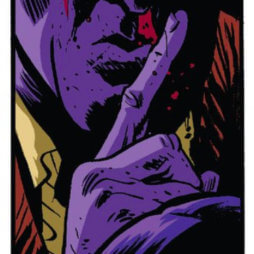 The Purple Man hushes, from Daredevil #10 by Mark Waid and Chris Samnee