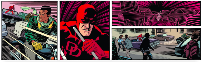 Daredevil chases the Stunt-Master copy cat in Daredevil #12, by Mark Waid and Chris Samnee