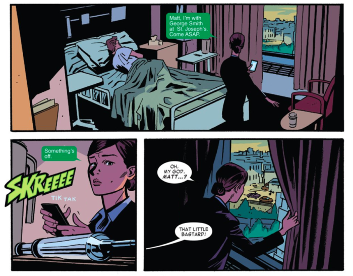 Kirsten suspects foul play, as seen in Daredevil #12 by Mark Waid and Chris Samnee